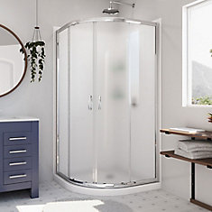 Prime 33-inch x 33-inch x 76.75-inch Corner Framed Sliding Shower Enclosure in Chrome with Acrylic Base and Back Walls Kit
