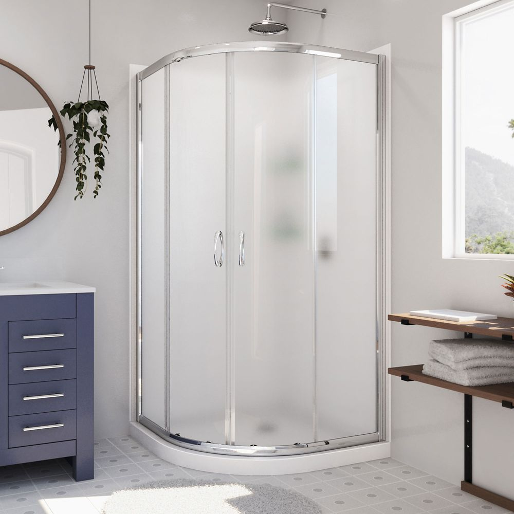 DreamLine Prime 33-inch x 33-inch x 76.75-inch Corner Framed Sliding Shower Enclosure in Chrome with Acrylic Base and Back Walls Kit
