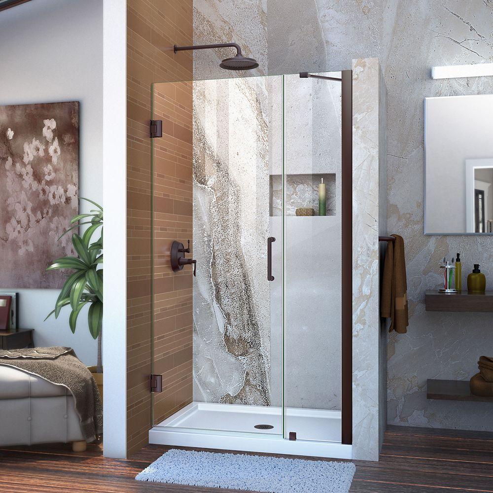DreamLine Unidoor 39 to 40-inch x 72-inch Frameless Hinged Pivot Shower Door in Oil Rubbed Bronze with Handle