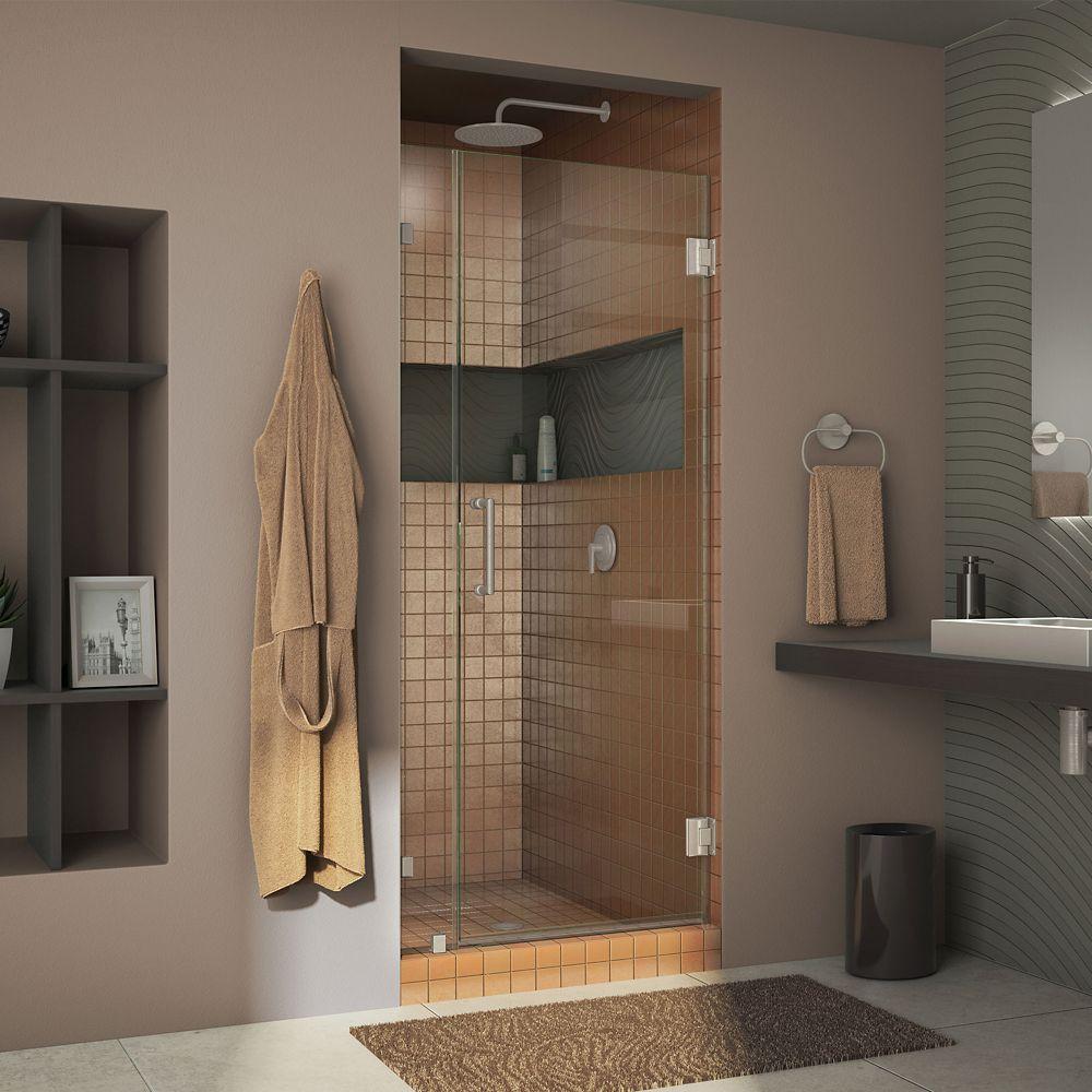 DreamLine Unidoor Lux 36-inch x 72-inch Frameless Pivot Shower Door in Brushed Nickel with Handle