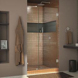 DreamLine Unidoor Lux 40-inch x 72-inch Frameless Hinged Shower Door in Brushed Nickel