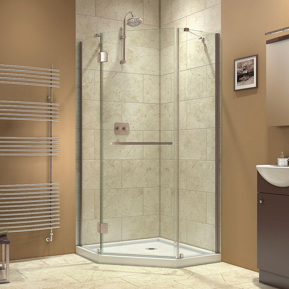 Prism-X 40-3/8  Inch  X 40-3/8  Inch  X 72  Inch  Semi-Framed Hinged Shower Enclosure In Brushed Nickel