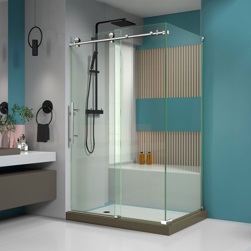 DreamLine Enigma-X 44-3/8 to 48-3/8-inch W x 34-1/2-inch D x 76-inch H Frameless Sliding Shower Enclosure in Polished Stainless Steel