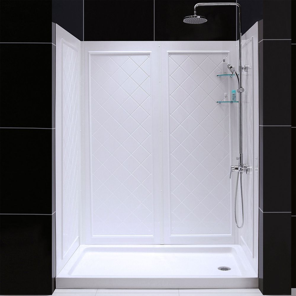 DreamLine QWALL-5 36-inch x 60-inch x 76-3/4-inch Standard Fit Shower Kit in White with Shower Base and Back Wall