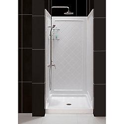 DreamLine SlimLine 36-inch x 36-inch Single Threshold Shower Base in White Center Drain Base with Back Walls