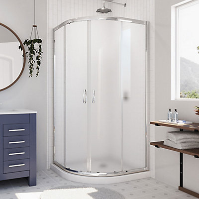 Prime 36 Inch X 74 75 Framed Sliding Shower Enclosure In Chrome With Quarter Round Base