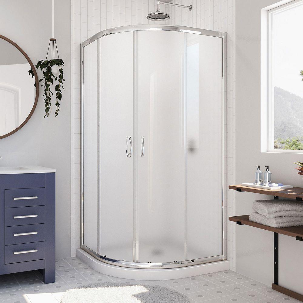 DreamLine Prime 36-inch x 36-inch x 74.75-inch Framed Sliding Shower Enclosure in Chrome with Quarter Round Shower Base