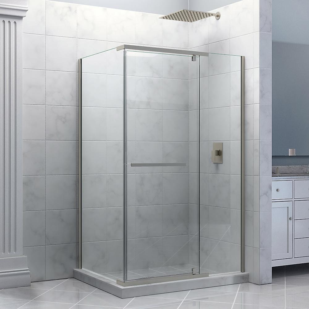 DreamLine Quatra 87.15 x 87.15 cm Cabine de douche en à Pivot, Le verre de 0.95 cm, nickel brossé