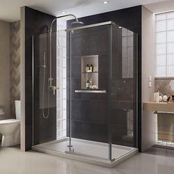 DreamLine Quatra 34-5/16-inch x 46-5/16-inch x 72-inch Semi-Frameless Pivot Shower Enclosure in Brushed Nickel