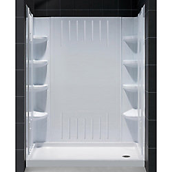 DreamLine QWALL-3 34-inch x 60-inch x 75-5/8-inch Standard Fit Shower Kit in White with Shower Base and Back Wall