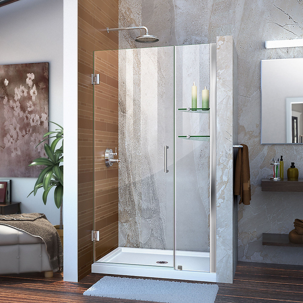 Unidoor 41 to 42-inch x 72-inch Frameless Hinged Pivot Shower Door in Chrome with Handle