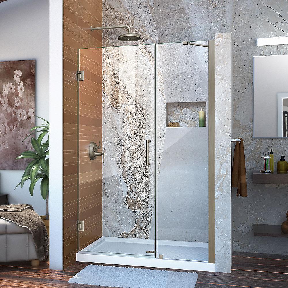Unidoor 43 to 44-inch x 72-inch Frameless Hinged Pivot Shower Door in Brushed Nickel with Handle