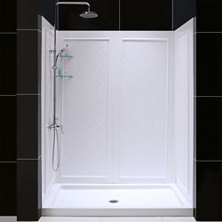 DreamLine SlimLine 34-inch x 60-inch Single Threshold Shower Base in White Center Drain Base with Back Walls