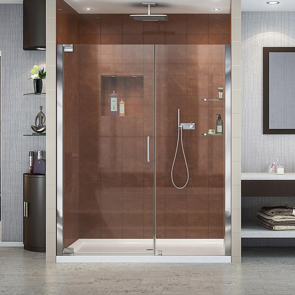 Elegance 30-inch x 60-inch x 74.75-inch Semi-Frameless Pivot Shower Door in Chrome with Center Drain White Acrylic Base