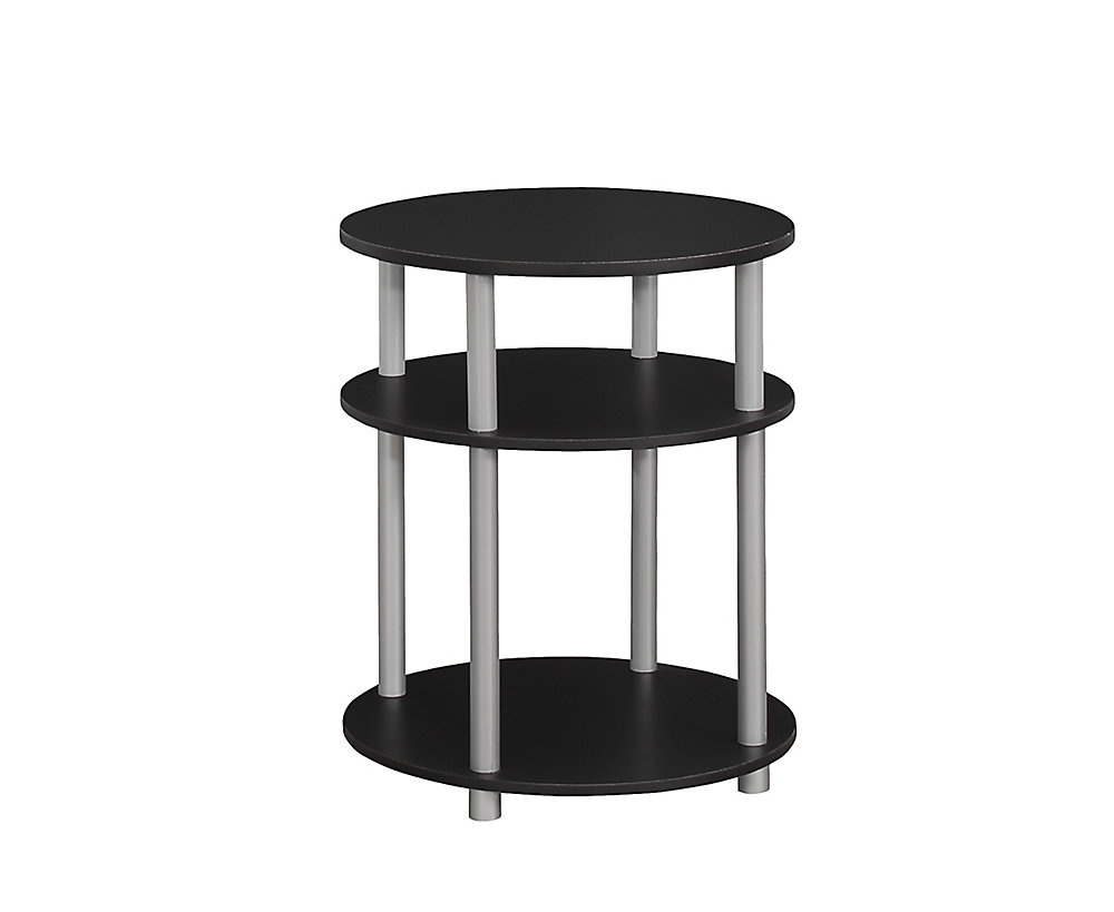 Accent Table - 19 Inch Dia / Black With Silver Accent