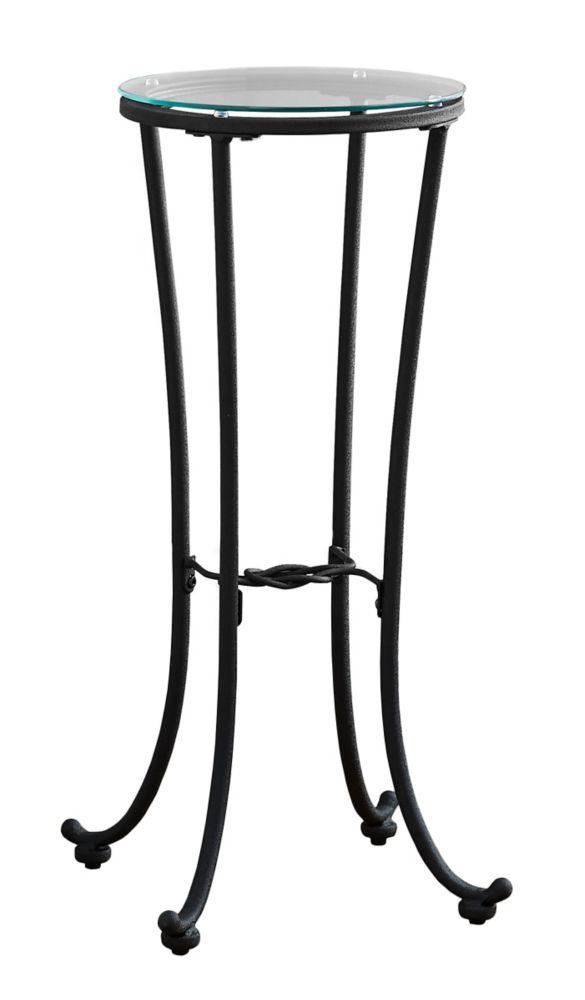 Table D'Appoint - Metal Noir Martele Et Verre Trempe