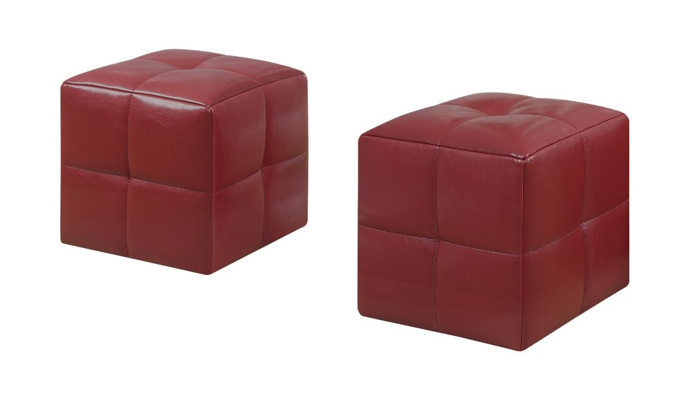 Ottoman - 2Pcs Set / Juvenile / Red Leather-Look