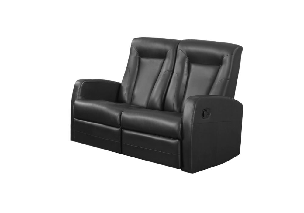 Reclining - Love Seat Black Bonded Leather