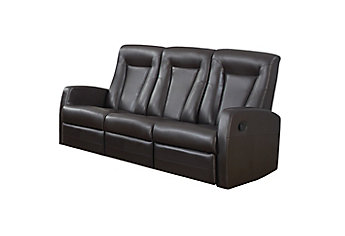 Monarch Specialties Reclining Sofa Brown Bonded Leather The Home Depot Canada