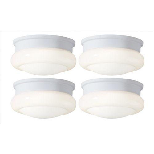 Hampton Bay School House AC LED Mini Flush Mount Ceiling Fixture - (4-Pack)
