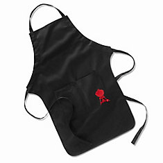 BBQ Apron in Black with Embroidered Red Kettle