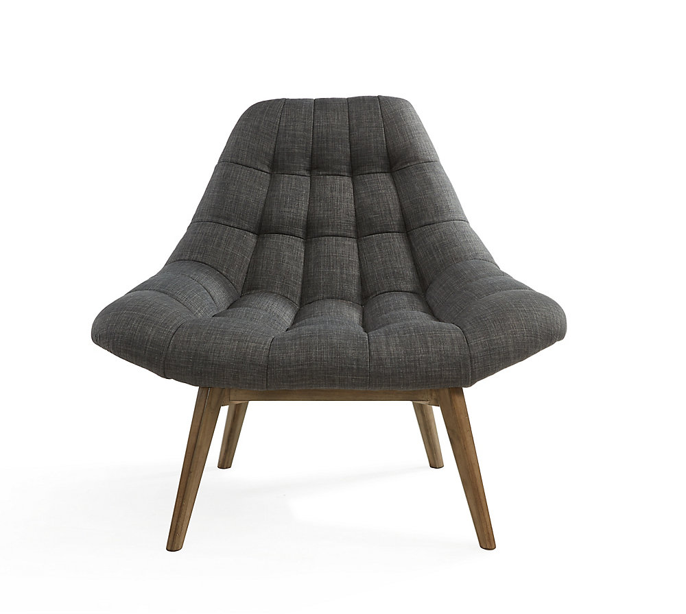 Oasis Occasional Polyester/Polyester Blend Accent Chair in Grey with Solid Pattern