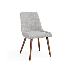 Mia Wood Grey Parson Armless Dining Chair with Grey Linen Seat - Set of 2