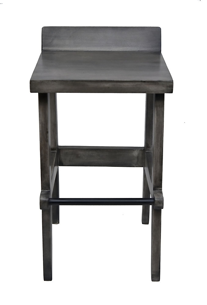 Ace Solid Wood Grey Parson Armless Bar Stool with Grey Solid Wood Seat