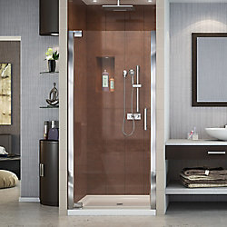 DreamLine Elegance 34-inch to 36-inch x 72-inch Semi-Frameless Pivot Shower Door in Chrome