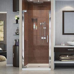 DreamLine Elegance 32-1/4-inch to 34-1/4-inch x 72-inch Semi-Frameless Pivot Shower Door in Chrome