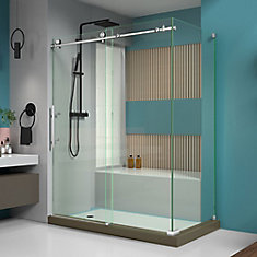 Enigma-X 60.375-inch x 76-inch Frameless Corner Sliding Shower Enclosure in Brushed Stainless Steel with Handle