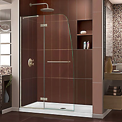 DreamLine Aqua Ultra 45-inch x 72-inch Semi-Frameless Hinged Shower Door in Brushed Nickel