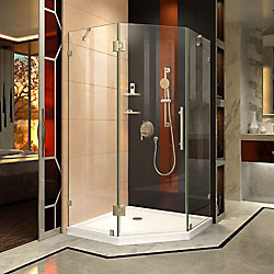 Prism Lux 36-5/16-inch x 72-inch Frameless Neo-Angle Hinged Shower Door in Brushed Nickel with Handle