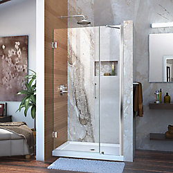 Unidoor 39 to 40-inch x 72-inch Frameless Hinged Pivot Shower Door in Chrome with Handle