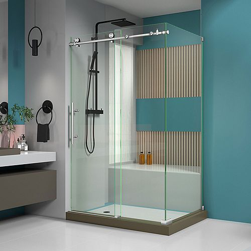 DreamLine Enigma-X 48.375-inch x 76-inch Frameless Corner Sliding Shower Enclosure in Brushed Stainless Steel with Handle