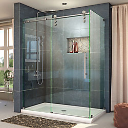 Enigma-Z 44-3/8 to 48-3/8-inch x 34-1/2-inch x 76-inch Frameless Sliding Shower Enclosure in Brushed Stainless Steel