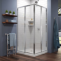 Cornerview 36-inch x 36-inch x 74.75-inch Corner Framed Sliding Shower Enclosure in Chrome with White Acrylic Base