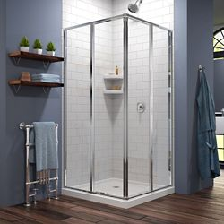 DreamLine Cornerview 36-inch x 36-inch x 74.75-inch Corner Framed Sliding Shower Enclosure in Chrome with White Acrylic Base