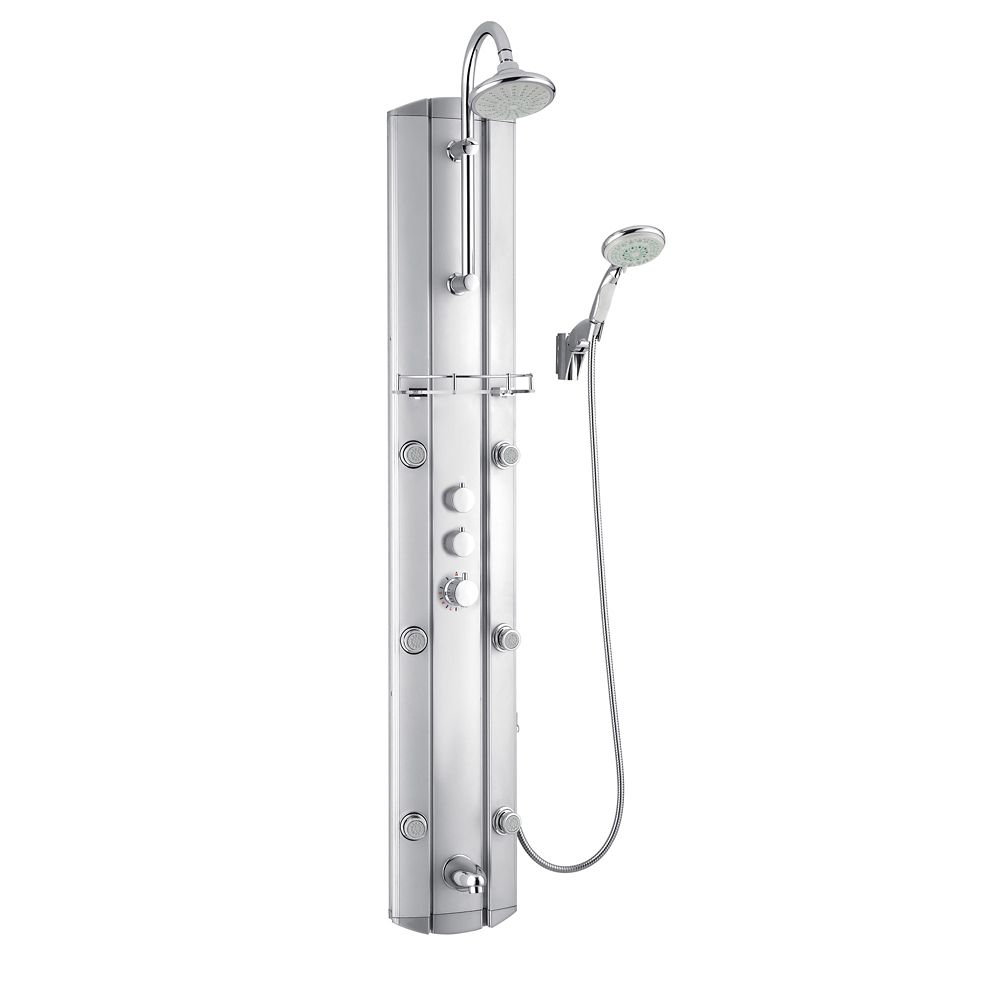 DreamLine 63-inch Hydrotherapy 6-Jet Shower Panel System in Satin