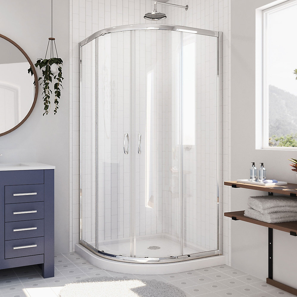 Prime 36-inch x 36-inch x 74.75-inch Framed Sliding Shower Enclosure in Chrome with Quarter Round Shower Base