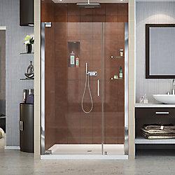 DreamLine Elegance 44-1/4-inch to 46-1/4-inch x 72-inch Semi-Frameless Pivot Shower Door in Chrome