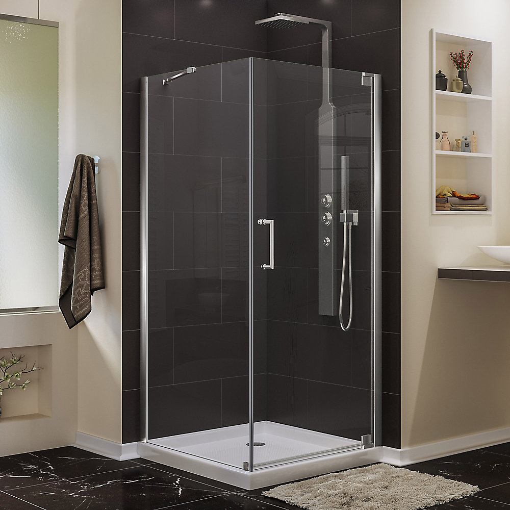 Elegance 34-inch W x 34-inch D x 72-inch H Semi-Frameless Pivot Shower Enclosure in Chrome