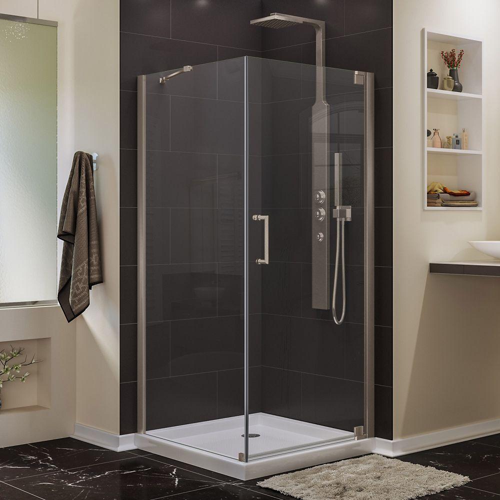 DreamLine Elegance 34-inch x 34-inch x 72-inch Semi-Frameless Pivot Shower Enclosure in Brushed Nickel