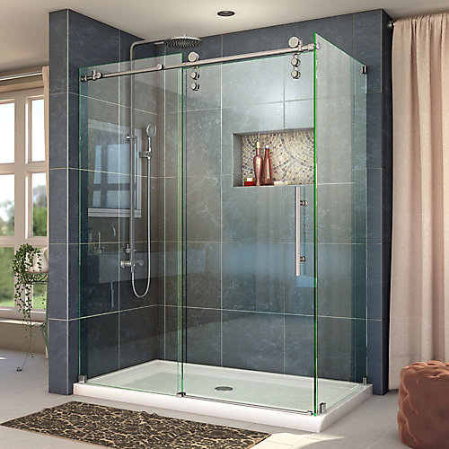Enigma-Z 56-3/8 to 60-3/8-inch W x 34-1/2-inch D x 76-inch H Frameless Sliding Shower Enclosure in Brushed Stainless Steel
