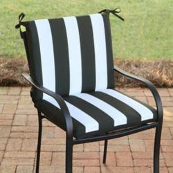 Hampton Bay 20-inch W x 18-inch D x 18-inch H Mid-Back Patio Cushion with Black Cabana Stripe