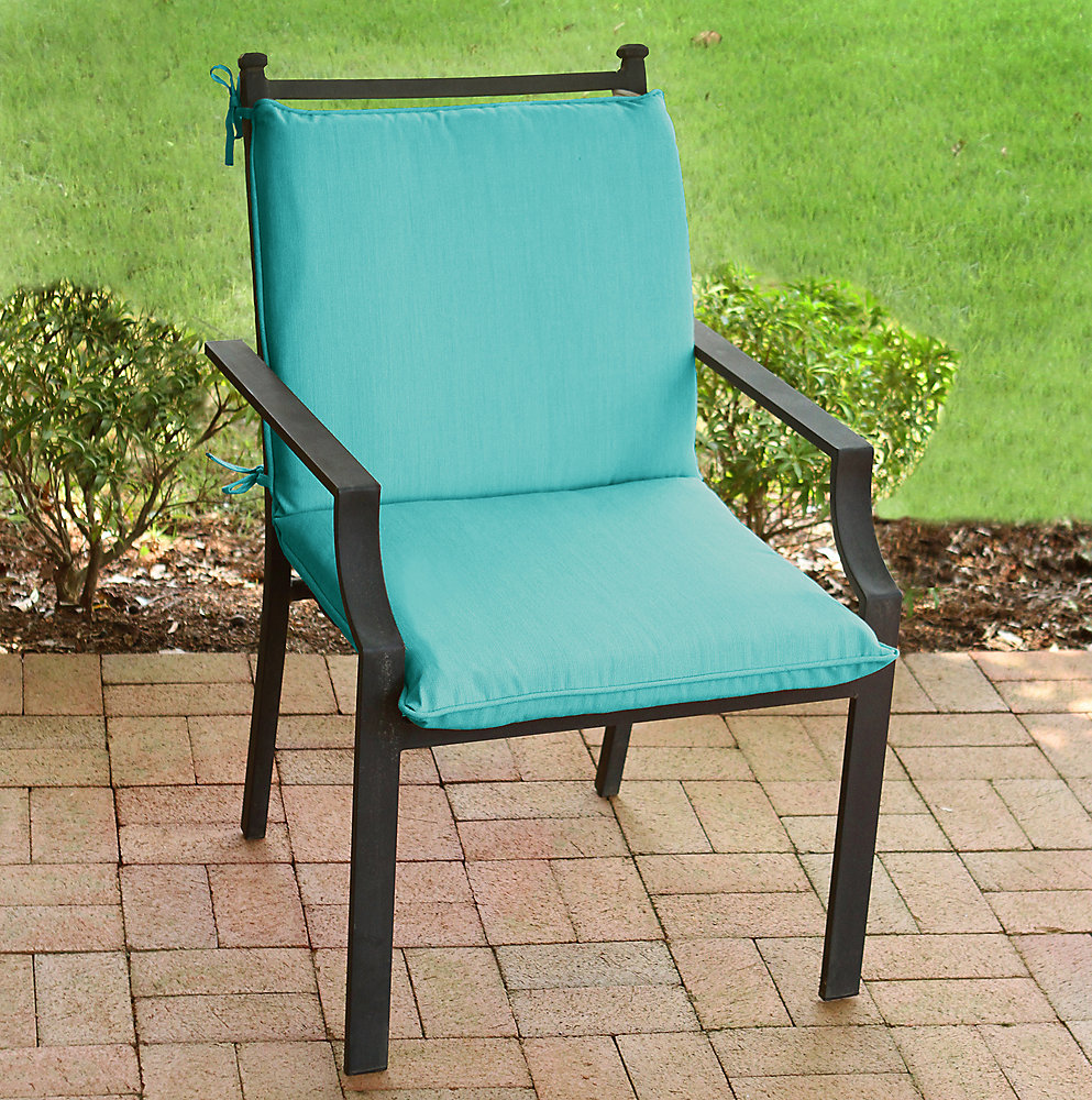 20 inch W x 18 inch D x 18 inch H - MidBack Patio Cushion with Sunvalley Turquoise Mix