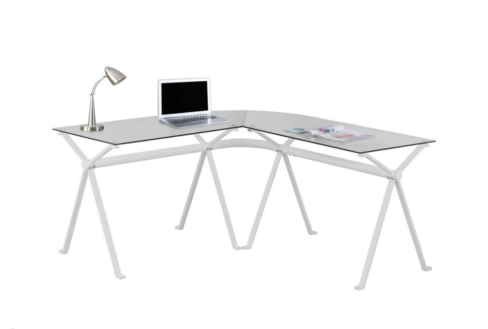 Bureau - Metal Blanc Avec Verre Trempe