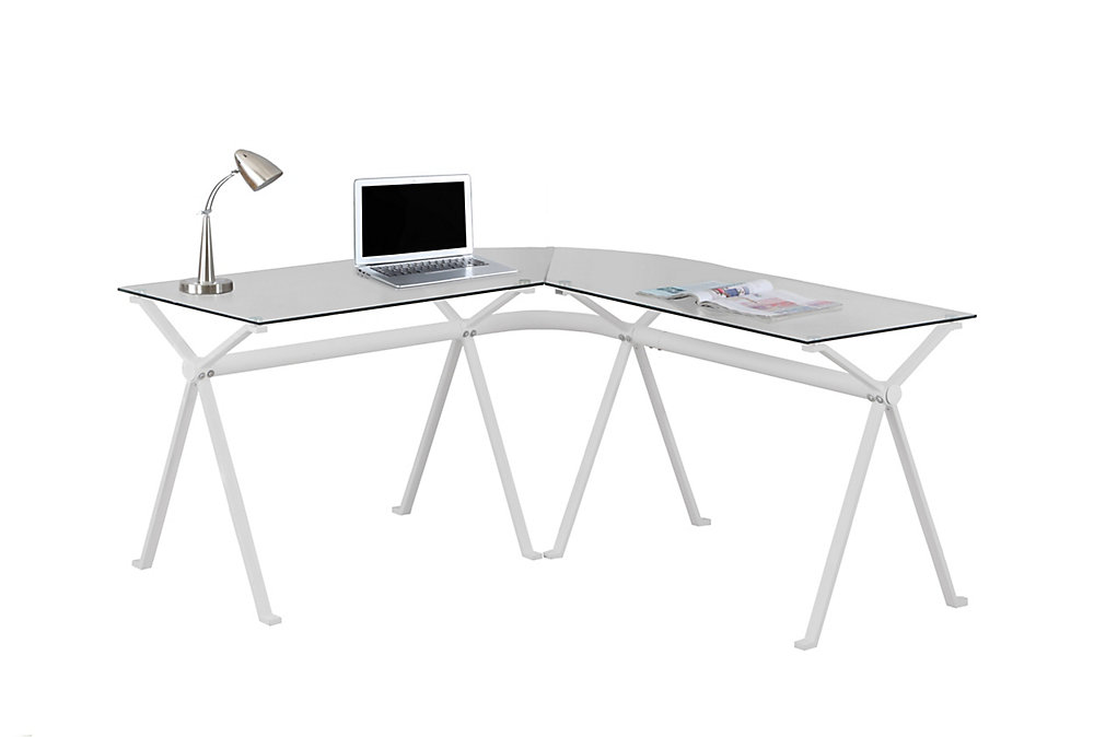 58-inch x 29-inch x 23-inch L-Shaped Computer Desk in White