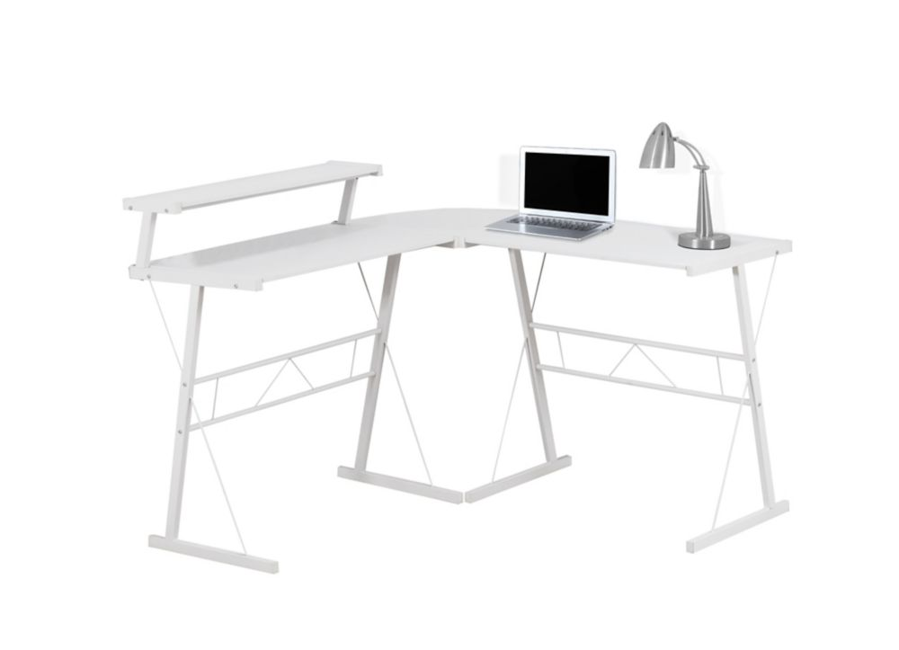 Computer Desk - White Top / White Metal