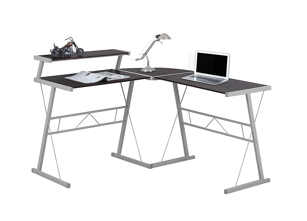 34-inch x 48-inch x 23-inch L-Shaped Computer Desk in Brown